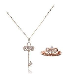 Rose gold  noble crown crystal ring necklace set